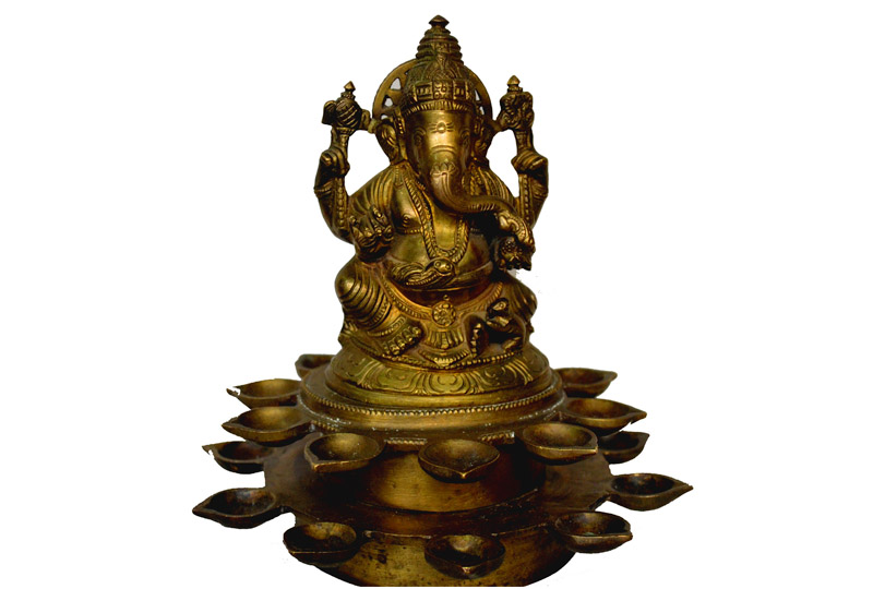 Antique sitting Ganesha Lamp